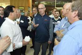 UConn men's basketball coach Dan Hurley chats with fans during the inaugural UConn Huskies Coaches Road Show visit to the campus of UConn Stamford on June 7, 2018.