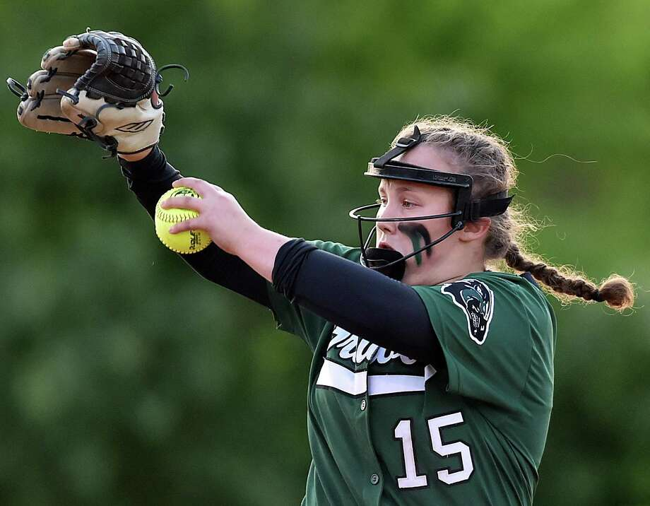 Griswold's Maya Waldron pitched a perfect game against North Branford in the Class M semifinals on Thursday. Photo: Catherine Avalone / Hearst Connecticut Media / New Haven Register