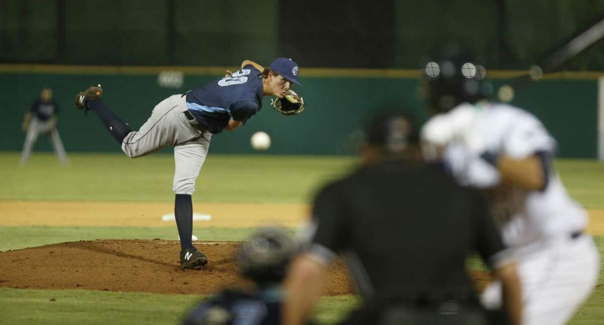 Corpus Christi Hooks pitcher Forrest Whitley, a former Alamo Heights star and former first-round draft pick, who was recently called up to the Double-A Hooks pitches against the San Antonio Missions on Friday, August 25, 2017 at Wolff Stadium