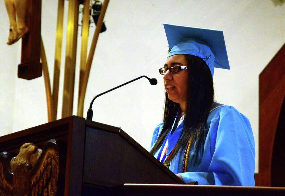 Amberlynn Pantoja gives the Valedictory Address during Kolbe Cathedral's 2018 Commencement Exercises in Bridgeport, Conn., on Thursday, June 7, 2018. Photo: Christian Abraham, Hearst Connecticut Media / Connecticut Post