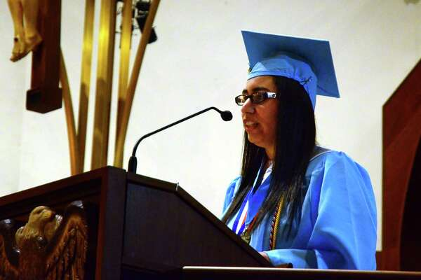 Amberlynn Pantoja gives the Valedictory Address during Kolbe Cathedral's 2018 Commencement Exercises in Bridgeport, Conn., on Thursday, June 7, 2018.