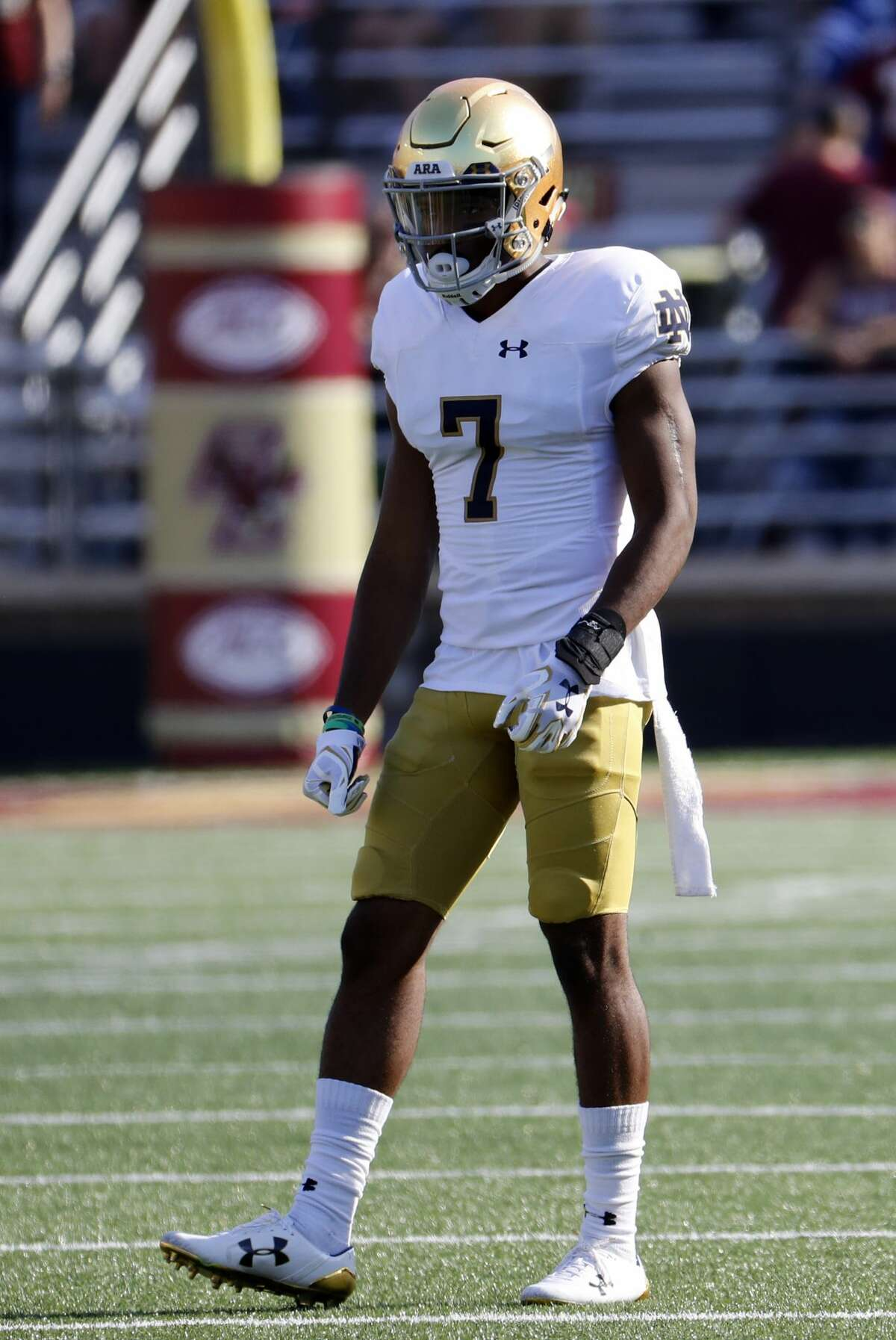 CHESTNUT HILL, MA - SEPTEMBER 16: Notre Dame cornerback Nick Watkins (7) during a game between the Boston College Eagles and the Notre Dame Fighting Irish on September 16, 2017, at Alumni Stadium in Chestnut Hill, Massachusetts. (Photo by Fred Kfoury III/Icon Sportswire via Getty Images)