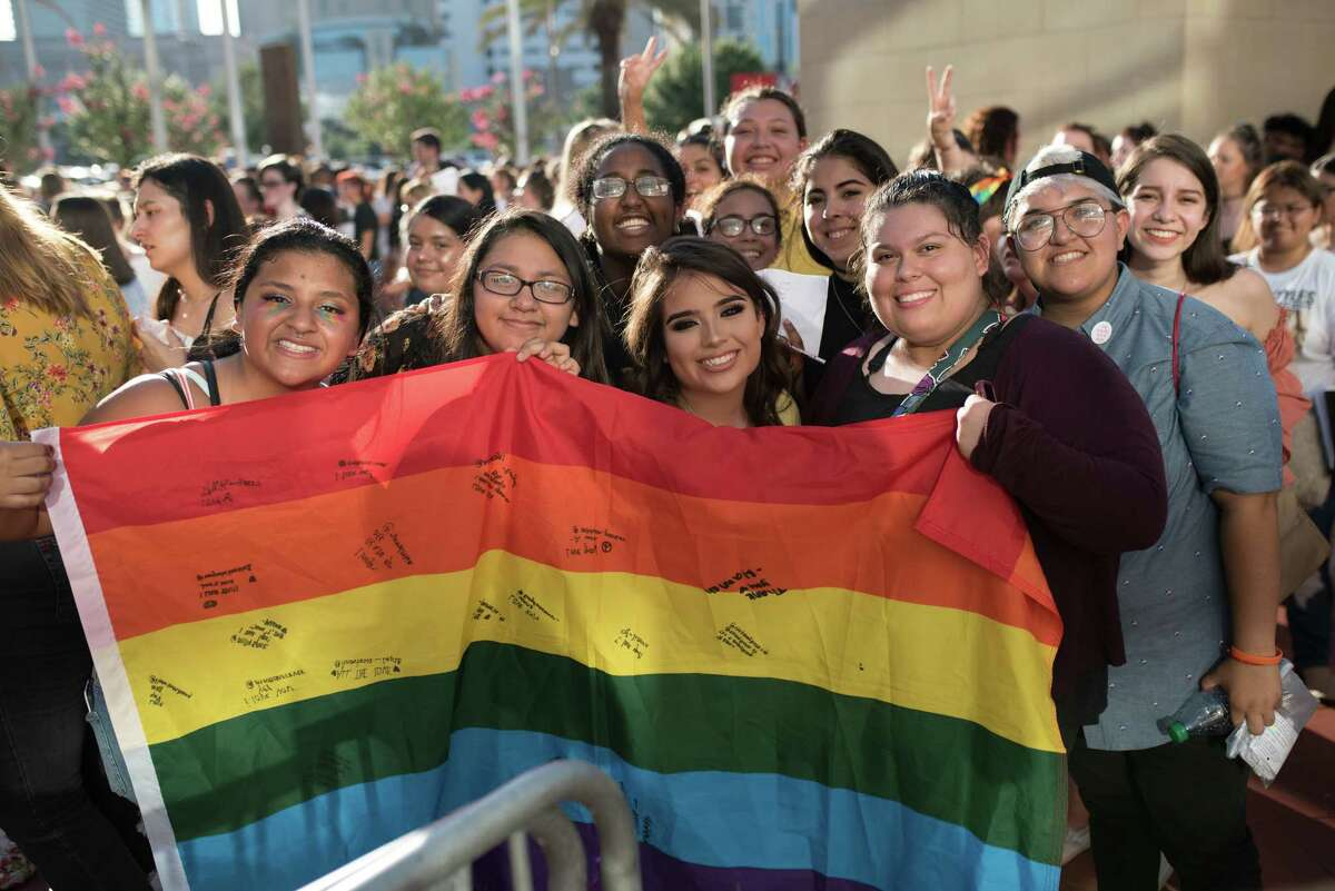Fans of Harry Styles at the Toyota Center in Downtown Houston on Thursday, June 7, 2018