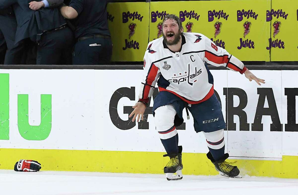 Washington Capitals left wing Alex Ovechkin, of Russia, celebrates as the Capitals defeated the Vegas Golden Knights in Game 5 of the NHL hockey Stanley Cup Finals to win the Stanley Cup Thursday, June 7, 2018, in Las Vegas.