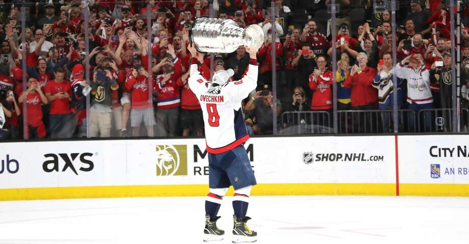 LAS VEGAS, NV - JUNE 07:  Alex Ovechkin #8 of the Washington Capitals hoists the Stanley Cup after his team defeated the Vegas Golden Knights 4-3 in Game Five of the 2018 NHL Stanley Cup Final at T-Mobile Arena on June 7, 2018 in Las Vegas, Nevada.  (Photo by Bruce Bennett/Getty Images) Photo: Bruce Bennett/Getty Images