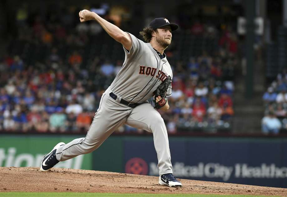 Gerrit Cole held the Rangers to one run during the Astros' series-opening victory Thursday. Photo: Jeffrey McWhorter/Associated Press