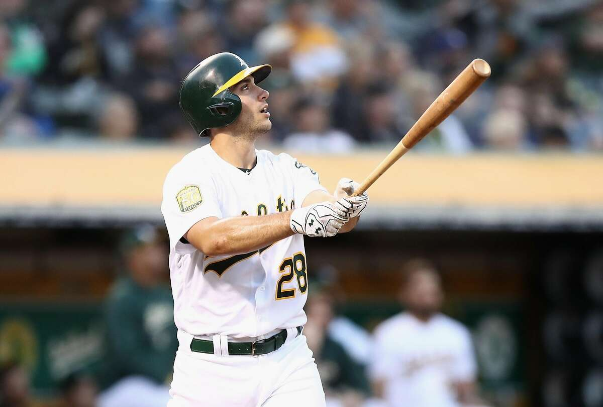OAKLAND, CA - JUNE 07: Matt Olson #28 of the Oakland Athletics hits a home run in the fourth inning against the Kansas City Royals at Oakland Alameda Coliseum on June 7, 2018 in Oakland, California. (Photo by Ezra Shaw/Getty Images)