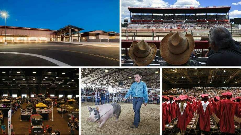 Webb County intends to turn the Laredo International Fair and Exposition, otherwise known as LIFE Downs, into a multi-purpose arena that will be able to host an array of events. This composite of photos provided by Webb County Judge Tano Tijerina's office shows what the facility could look like. Photo: Courtesy Photo