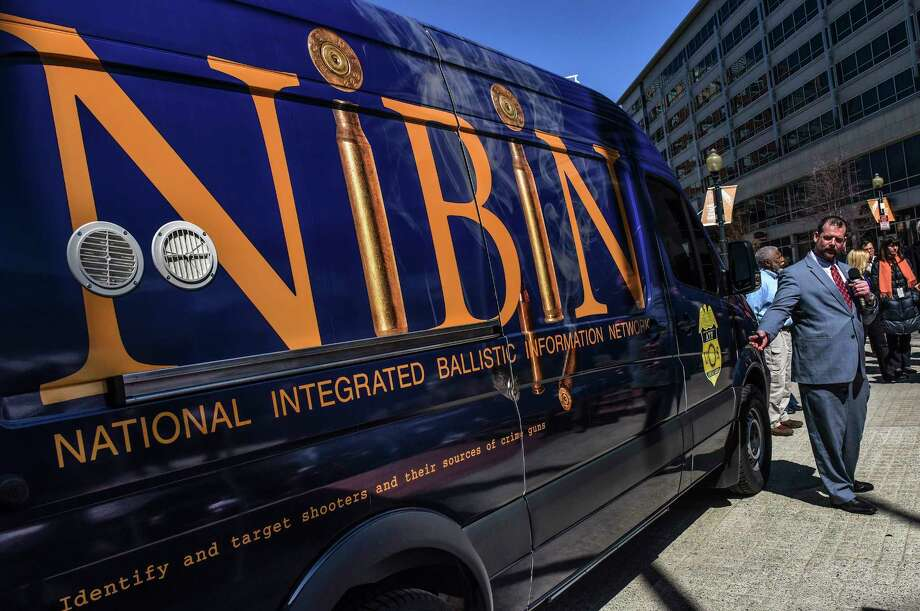 Jim Ferguson, chief of the ATF's Firearms Operations Division, introduces the mobile National Integrated Ballistic Information Network van in March 2017 in Washington. Photo: Washington Post Photo By Bill O'Leary. / The Washington Post
