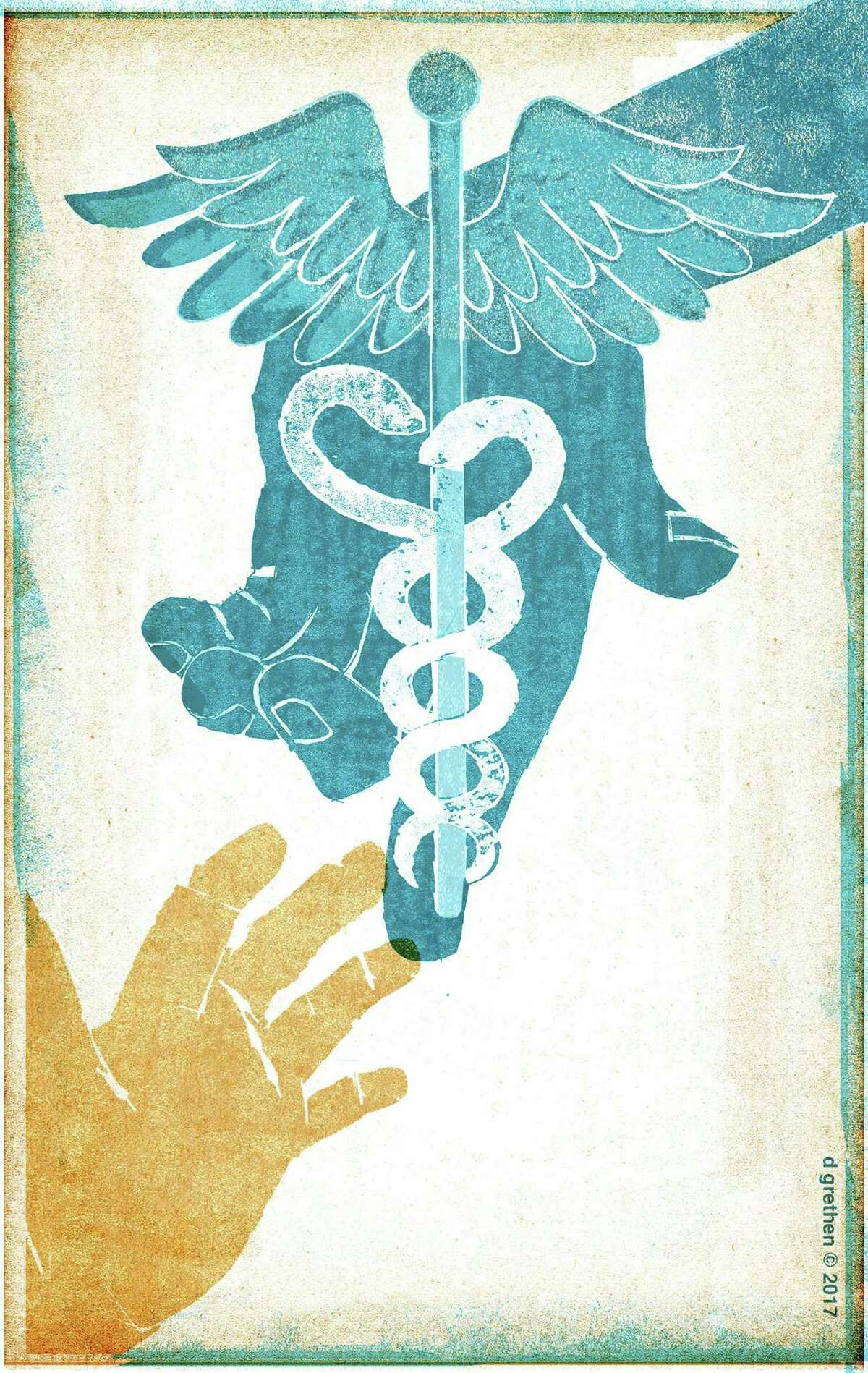 This artwork by Donna Grethen refers to preserving health care for our neediest and for children.
