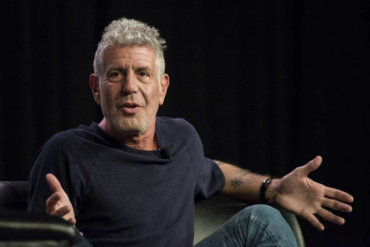 Anthony Bourdain speaks during the South By Southwest (SXSW) Interactive Festival at the Austin Convention Center in Austin, Texas, on March 13, 2016.
