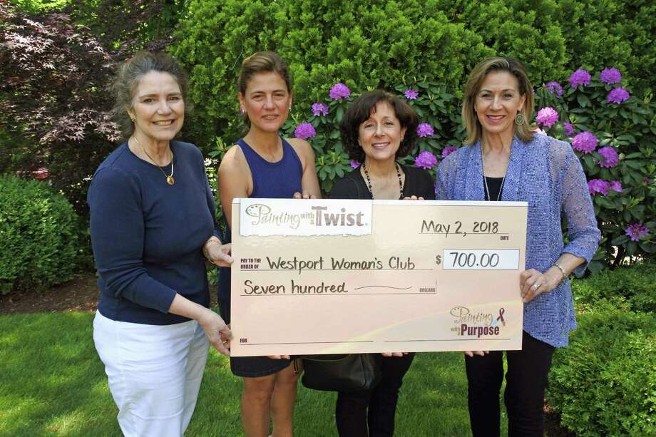 From left, Westport Woman's Club President Dorothy M. Packer, with board members Christina McVaney and Susan Fox receive a $700 check from Janice McGuire, owner of Painting with a Twist, following the club's fundraiser at the Westport store at 1460 Post Road East. Photo: Contributed Photo