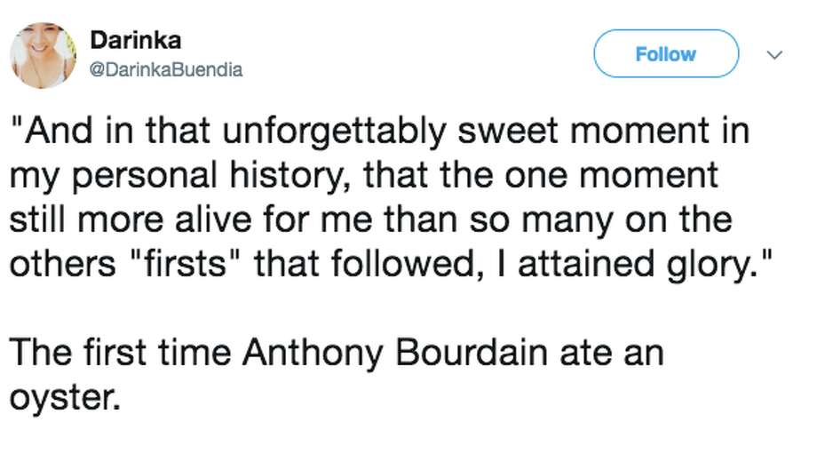 American TV celebrity and food writer Anthony Bourdain was found dead in his hotel room Friday in France and many took to Twitter to post tributes and their favorite Bourdain quotes and passages. Photo: Twitter Screen Grab