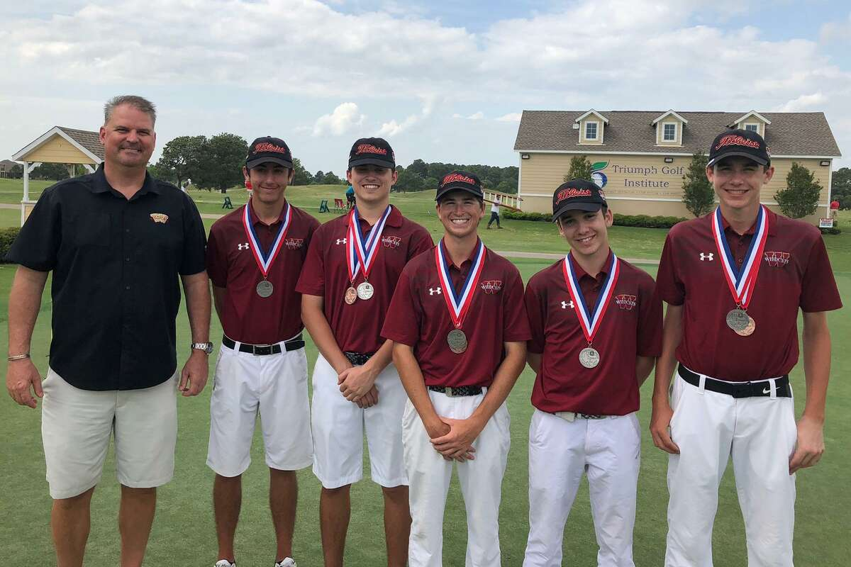 The Cy Woods boys golf team finished second at the District 17-6A tournament at Cypress Lakes Golf Club, qualifying for the Region III-6A tournament. Pictured are (from left) head coach Curtis Neill, Roberto Espinoza, John Kearney, Travis Edwards, Enrique Bangueses and Brian Janger.
