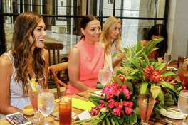 Margret Rojas, from left, Caroline Harper Knapp, and Chiara Casiraghi Brody at the Post Oak Hotel at Uptown Houston's boutique 29 Degrees North.
