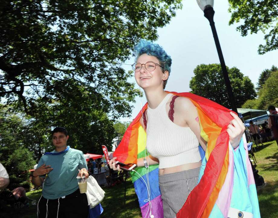 Hannah Landesberg of Fairfield attends the 2017 Triangle Community Center's annual Pride in the Park celebration in Mathews Park in Norwalk. This year's event takes place Saturday, June 9. Photo: Bob Luckey Jr. / Hearst Connecticut Media / Greenwich Time