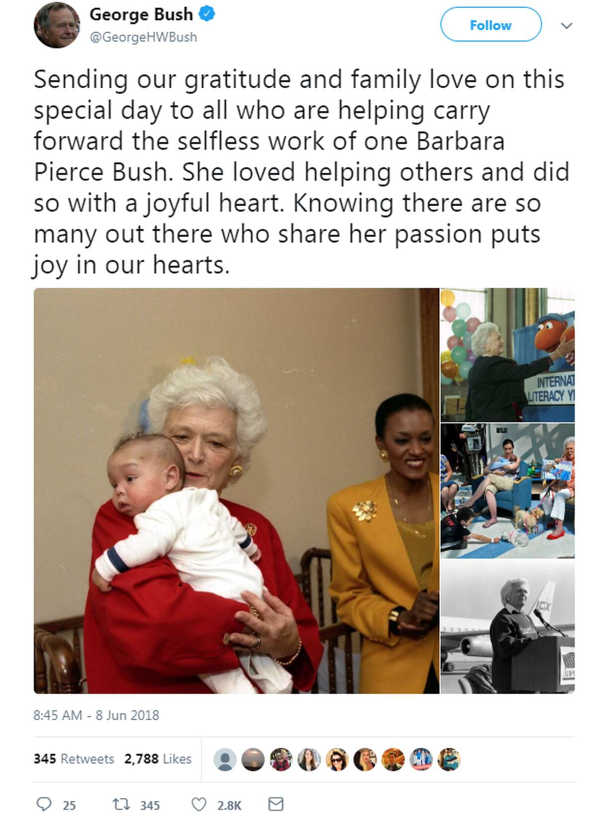 Former President George H.W. Bush celebrated what would have been Barbara Bush's 93rd birthday with a touching message on Twitter.