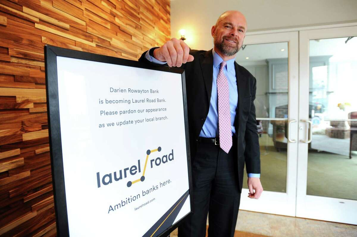 Scott Skorobohaty, executive vice president of community banking and commercial lending at Laurel Road, poses for a photo inside Laurel Road's branch at 1001 Post Road in Darien, Conn., on April 18, 2018.