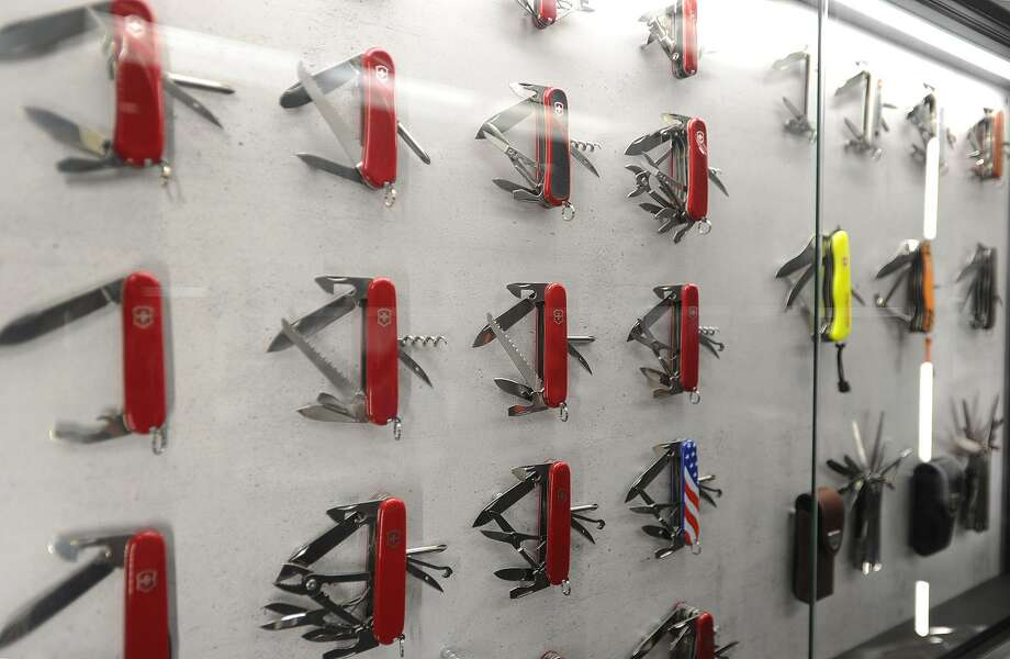 Swiss Army knife designs on display at Victorinox's facility in Monroe last year. Photo: Brian A. Pounds / Hearst Connecticut Media / Connecticut Post