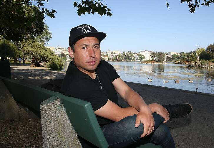 """Tommy Orange talks about his debut novel """"There There"""" at Lake Merritt on Tuesday, May 29, 2018 in San Francisco, Calif.  """"There There"""" is a multi-generational portrait of urban Native American life which takes place in Oakland where Orange grew up."""