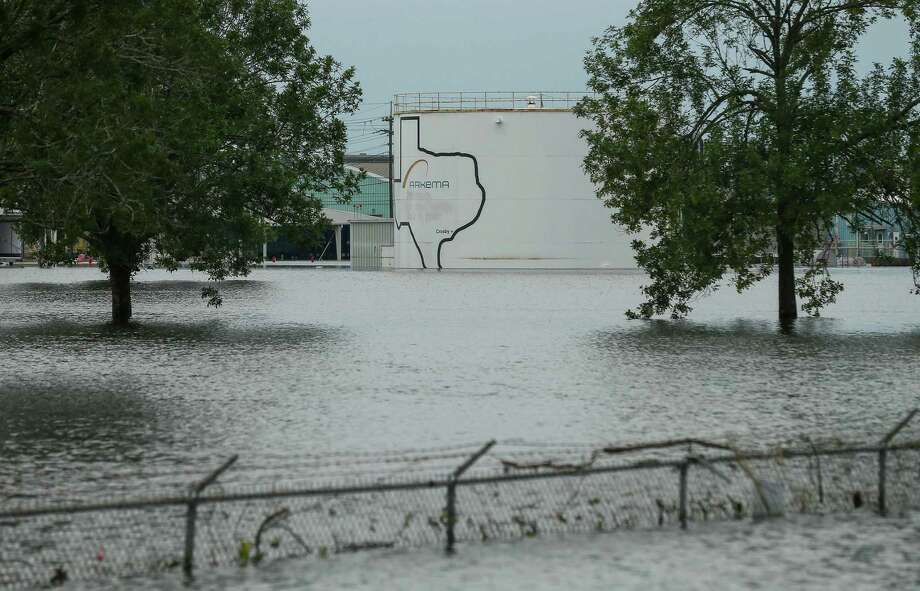 """This Aug. 30 photo shows flooding at the Arkema chemical plant in Crosby, northeast of Houston. The U.S. Chemical Safety Board said that crews for Arkema worked """"to the best of their ability"""" to keep equipment that cooled and stabilized its organic peroxides from losing power. But Arkema's emergency plans hadn't accounted for damage caused by high flood waters. Photo: Godofredo A. Vasquez, MBO / Associated Press / Houston Chronicle"""