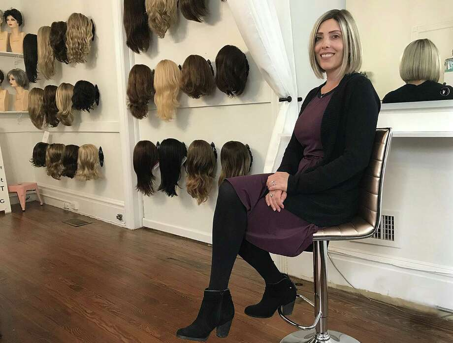 Danielle Izzo, owner of Danielle Elizabeth Wigs, sits in her new studio in Ridgefield, Conn., on Wednesday, June 6, 2018. Photo: Chris Bosak / Hearst Connecticut Media / The News-Times