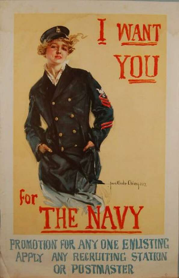 "This lithograph, ""I Want You for the Navy, 1917,' is on display at the Bruce Museum as part of the 'Patriotic Persuasion: American Posters of the First World War' exhibit. The special exhibit is on display through Sunday. The Bruce will have free admission on Saturday as part of Connecticut Open House Day. Photo: Contributed /"