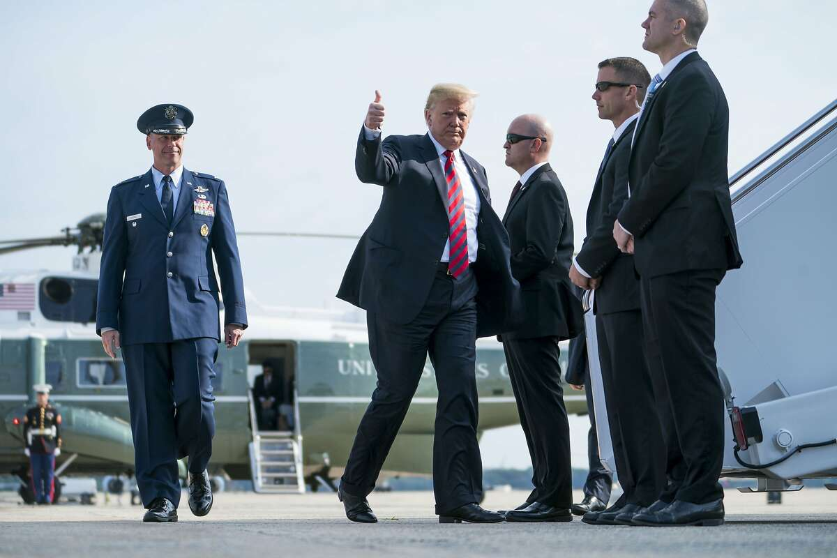 President Donald Trump, headed for the G-7 summit in Canada, boards Air Force One at Joint Base Andrews in Maryland, June 8, 2018. Trump called on the world�s leading economies on Friday to reinstate Russia to the Group of 7 nations four years after it was cast out for annexing Crimea, once again putting him at odds with America�s leading allies in Europe and Asia. (Doug Mills/The New York Times)