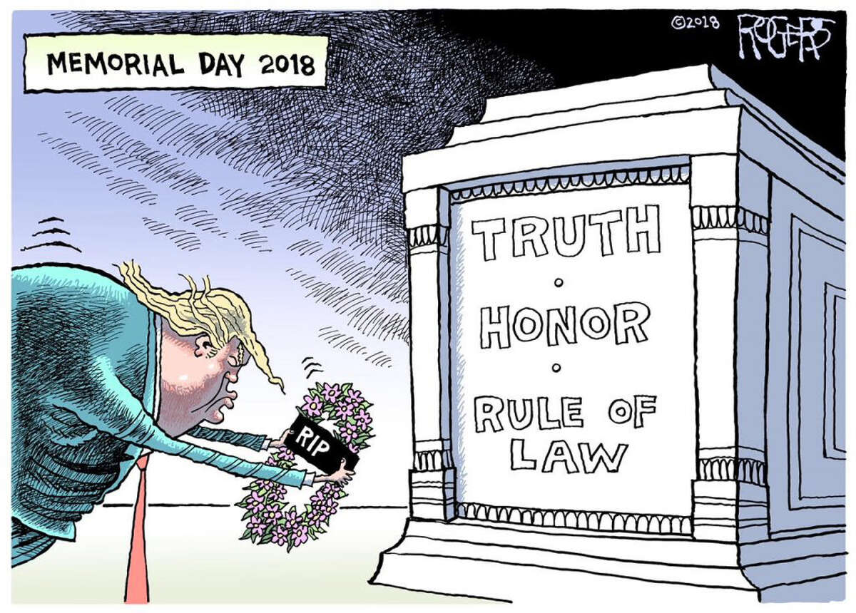 One of Rob Rogers's finished cartoons that were recently killed by his Pittsburgh Post-Gazette editors. (For use only with Washington Post story by Michael Cavna).