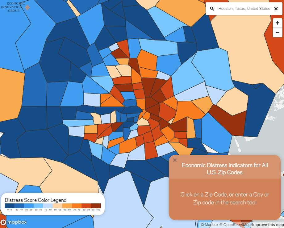 The Economic Innovation Group (EIG), a public policy organization, has a new interactive tool that shows where some of America's most economically distressed areas are. This is how parts of Houston fared in their analysis. Photo: Economic Innovation Group