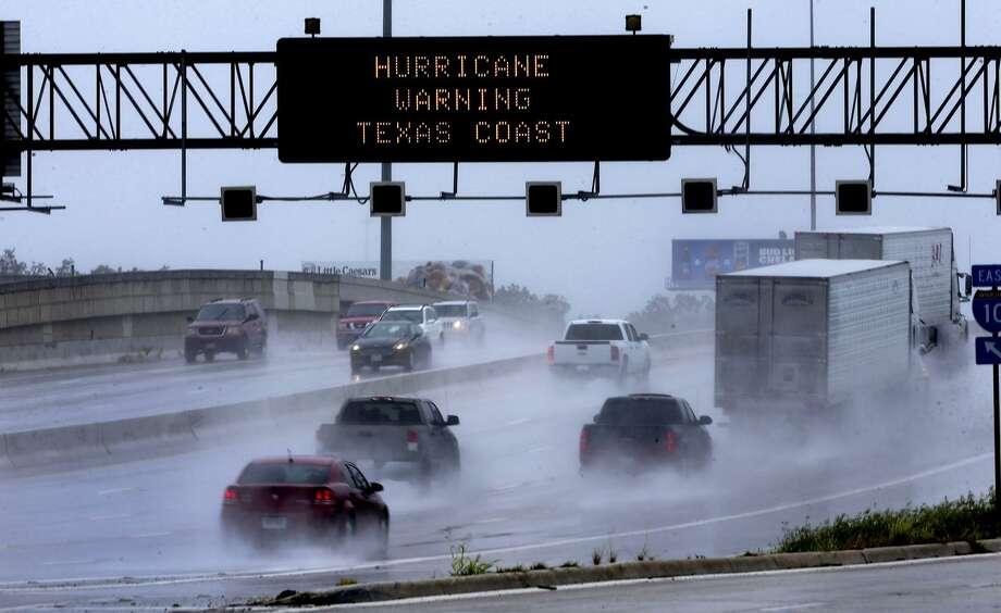 Texas Trans Guide warns motorists Saturday August 26, 2017 about Hurricane Harvey. Photo: John Davenport, STAFF / ©San Antonio Express-News/John Davenport