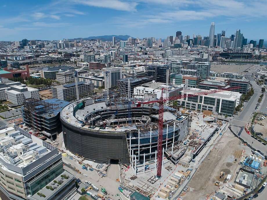 Warriors' new Chase Center in Mission Bay is 50 percent complete, and scheduled to open in time for the 2019-2020 season. Photo: Matier & Ross, Courtesy Golden State Warriors
