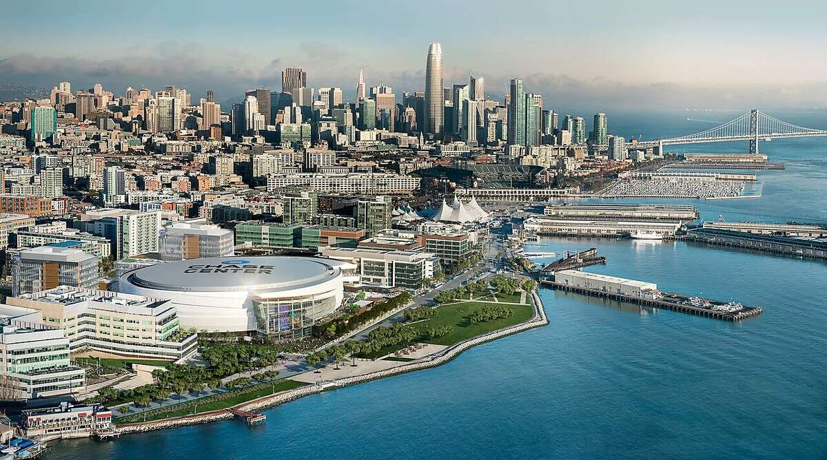 """A lighted """"Chase Center"""" sign on the roof of the new Warriors arena in San Francisco will be visible only from the air or nearby skyscrapers."""
