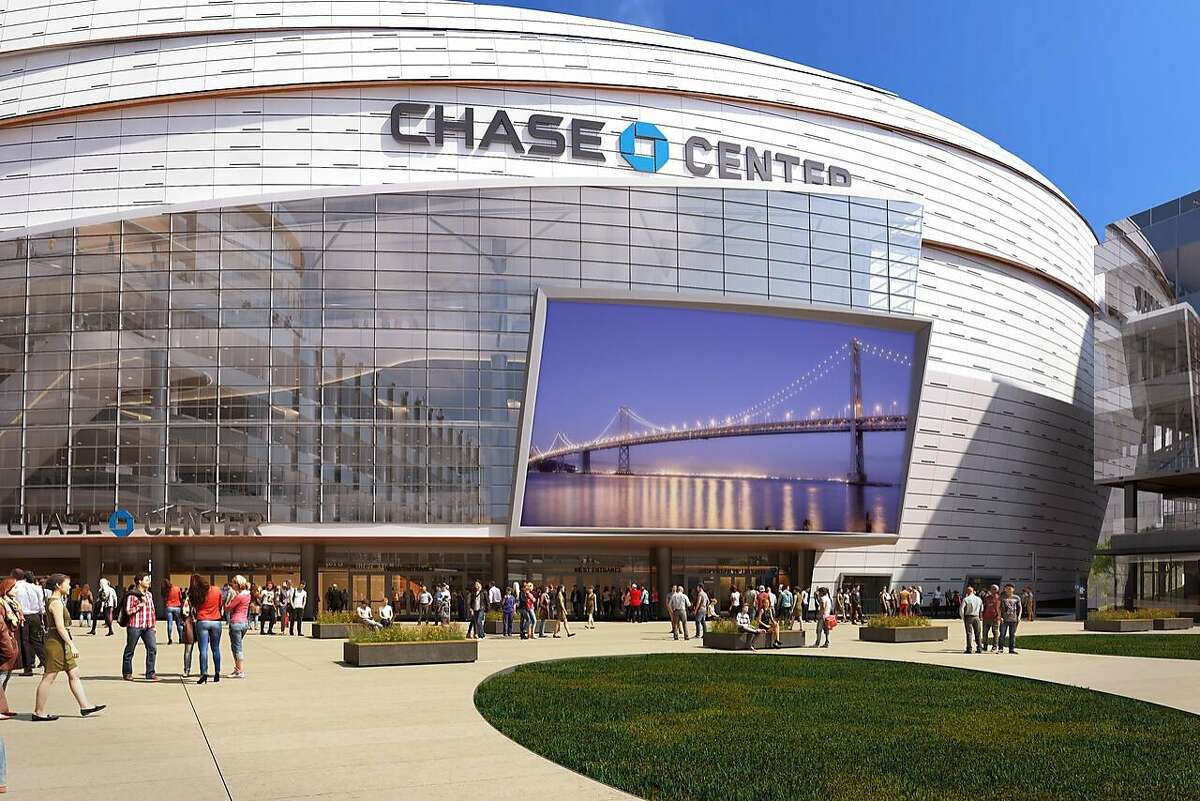 Warriors win approval for giant new TV screen over the Third Street entrance to the Chase Center under construction at Mission Bay.