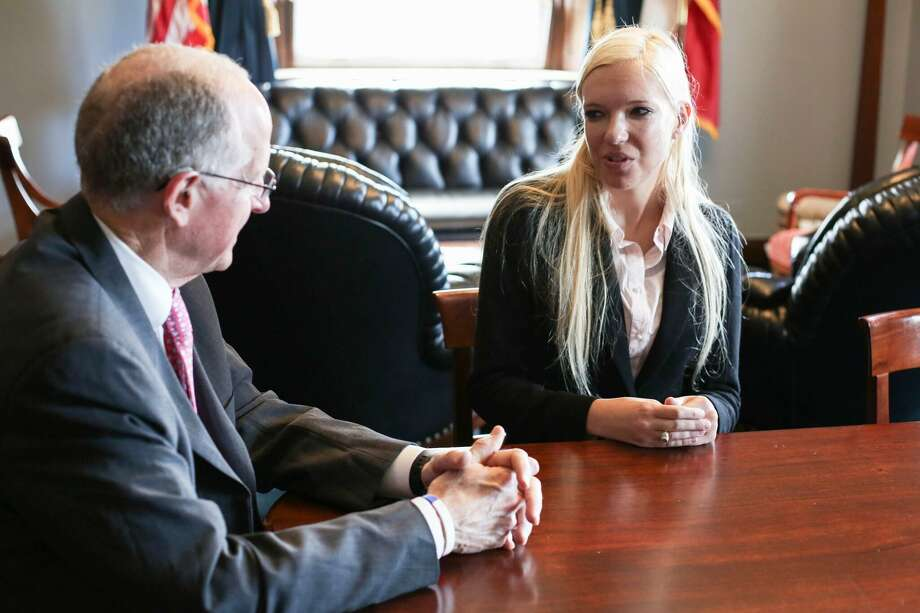 Texas A&M senior Kate Wright talks House Committee on Agriculture Chairman Mike Conaway as part of the university's Agricultural and Natural Resources Policy internship program in Washington, D.C. Photo: Courtesy Photo