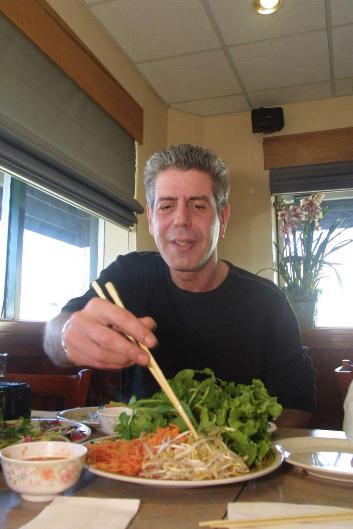 Chef author Anthony Bourdain during a lunch interview at Mai's Restaurant in Houston on Feb. 8, 2002.