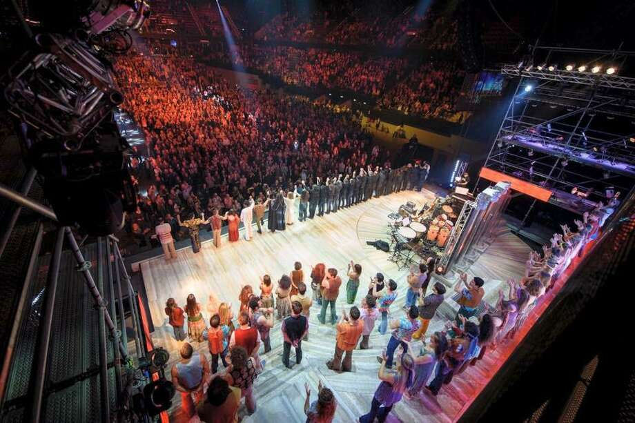 """Ted Neeley and the """"Jesus Christ Superstar"""" cast bow after a 2017 show at the Ahoy Arena in Holland. Neeley, who also starred in the film, will be at The Palace Danbury when the film's sing-along version is screened on June 22, and will talk about the movie in an event called """"The Jesus Christ Superstar Sing-Along Experience."""" Photo: Peep Arrow Entertainment / Contributed Photo"""