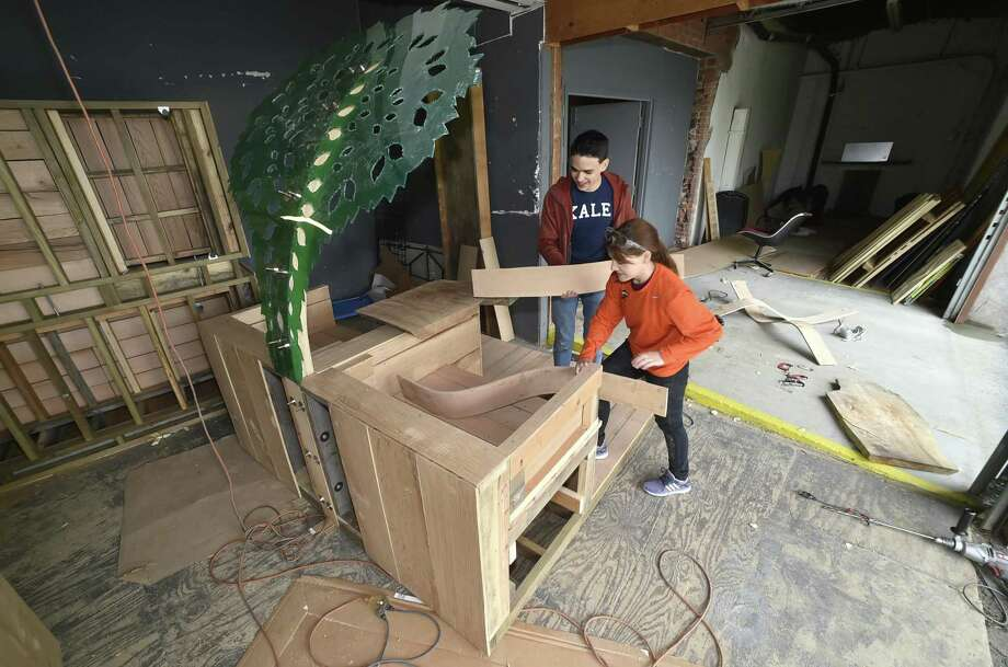 "New Haven, Connecticut - Sunday, May 13, 2018: Yale graduate students, Misha Semenov and Kassandra Leiva, working in a warehouse on Blatchley Ave., have designed and built ""urban canopy"" parklet to be placed on Grand Avenue. A parklet is a sidewalk extension providing pubic space and amenities for people using the street. Their design won the 2017 New Haven Parklet Design Competition. Photo: Peter Hvizdak / Hearst Connecticut Media / New Haven Register"