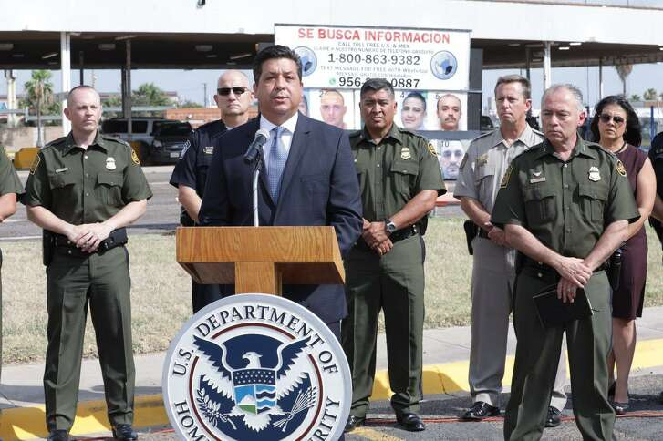"The Governor of the Mexican state of Tamaulipas, Francisco García Cabeza de Vaca, announces the launching of the binational campaign ""Safety and Prosperity Campaign"" against organized crime at the border with Texas during a press conference on June 7, 2017 at the Hidalgo, Texas, crossing bridge. He is accompanied by Manuel Padilla Jr., Commander of the Joint Task Force-West group coordinating the U.S. inter-agency participation (6/7/2018)."