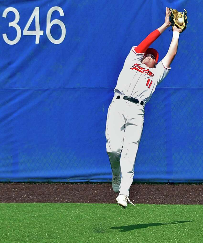 Albany Academy outfielder #11 Parker Bolt makes a leaping catch during their Class B Baseball State Semifinal game against Center Moriches Friday June 8, 2018 in Endwell, NY. (John Carl D'Annibale/Times Union)