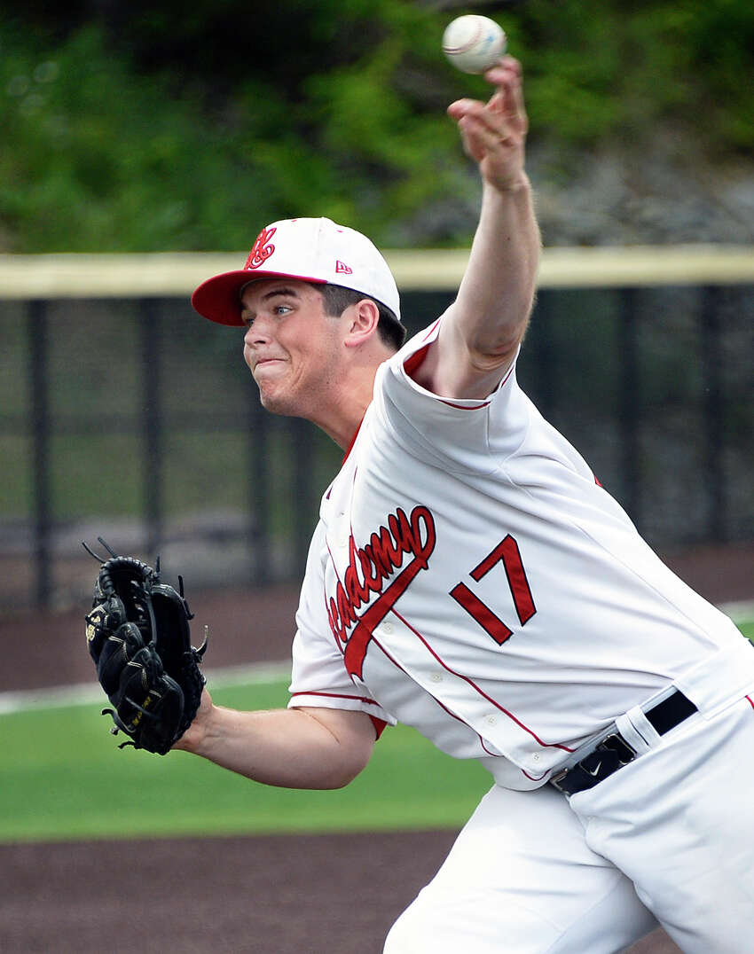 Albany Academy starting pitcher #17 Ben Seiler on the mound for their Class B Baseball State Semifinal game against Center Moriches Friday June 8, 2018 in Endwell, NY. (John Carl D'Annibale/Times Union)