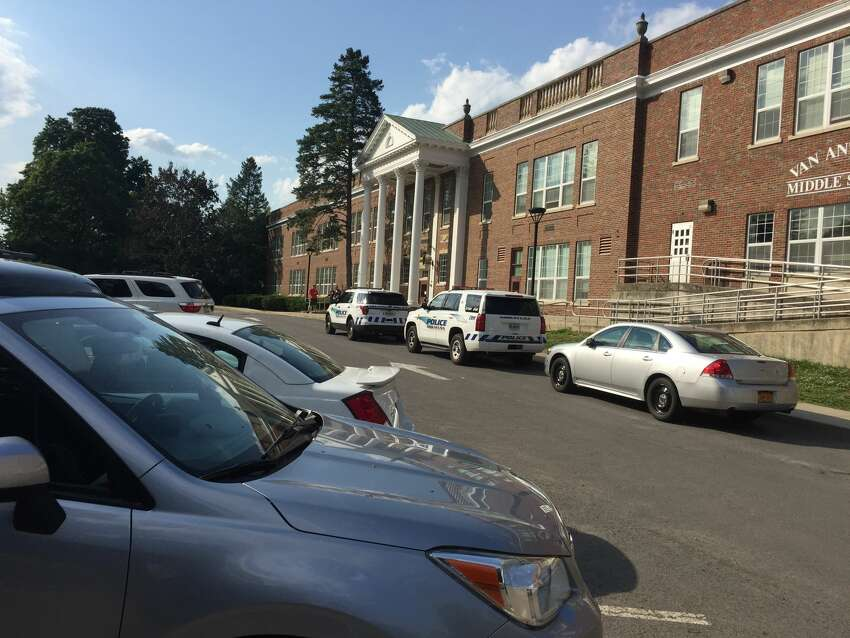 Niskayuna police investigate a threat at Van Antwerp Middle School, which went into lockdown at 2:30 p.m. Friday, June 8, 2018.