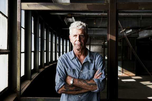 "FILE-- Anthony Bourdain on Pier 57, where he was planning to open Bourdain Market, in New York, Sept. 20, 2015.  Bourdain, a travel host whose memoir ""Kitchen Confidential"" about the dark corners of New York's restaurants started a career in television, died on June 8, 2018. He was 61. (Alex Welsh/The New York Times)"