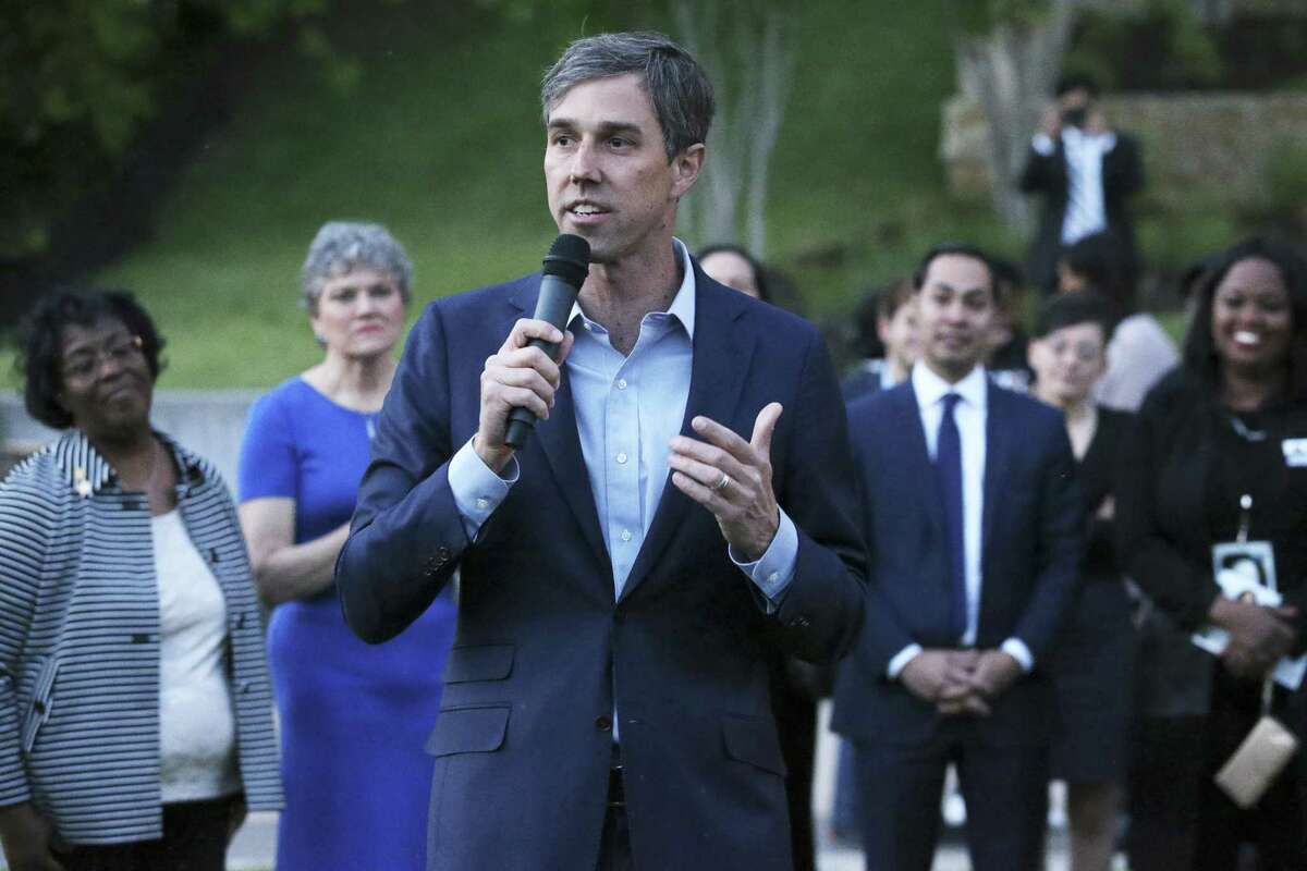 Beto O'Rourke speaks as Democratic statewide hopefuls gather at the Sheraton Austin at the Capitol to speak at the Blue Wave Summit Fundraising reception on April 14, 2018.
