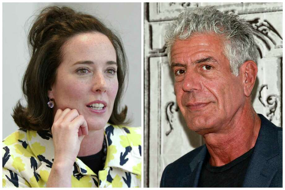 This combination of 2004 and 2016 file photos shows fashion designer Kate Spade and chef Anthony Bourdain in New York. A U.S. report released in June 2018 found an uptick in suicide rates in nearly every state since 1999. Middle-aged adults _ ages 45 to 64 _ had the largest rate increase. Bourdain was 61 and Spade was 55. Photo: Bebeto Matthews, Andy Kropa, AP / AP2004
