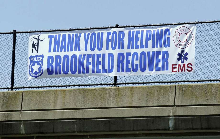 "Brookfield residents say ""thank you"" to first responders with a banner on a highway overpass just before Exit 12 in Brookfield. Photo Wednesday, May 23, 2018. Photo: Carol Kaliff / Hearst Connecticut Media / The News-Times"