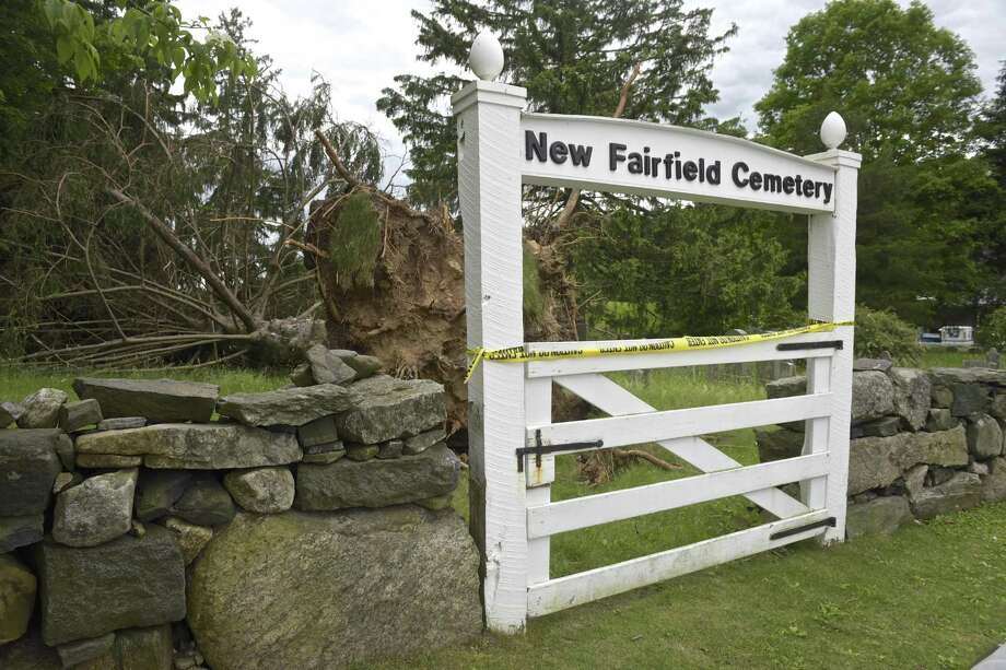 New Fairfield Cemetery, on Brush Hill Road, has a number of trees that were damaged or blown over in last month's storm. Wednesday, June 6, 2018, in New Fairfield, Conn. Photo: H John Voorhees III / Hearst Connecticut Media / The News-Times
