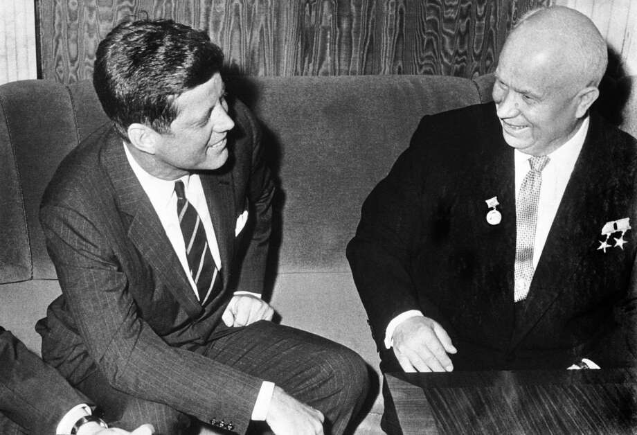 U.S. President John F. Kennedy and Soviet leader Nikita Khrushchev meet  in Vienna for an friendly discussion in 1961. A reader says Khrushchev's prediction on how his country would beat the United States is coming true. Photo: Keystone-France / Getty Images / Keystone-France /Gamma-Rapho