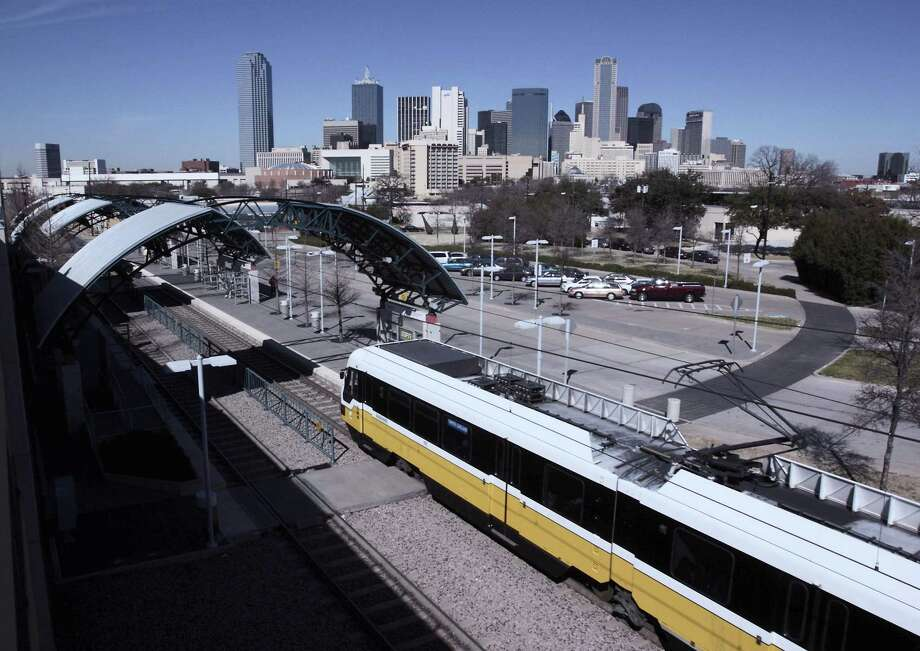A Dallas Area Rapid Transit light-rail train arrives at the Cedars station south of the city center in 2011. San Antonio remains the largest U.S. city without rail service. Photo: /COURTESY PHOTO