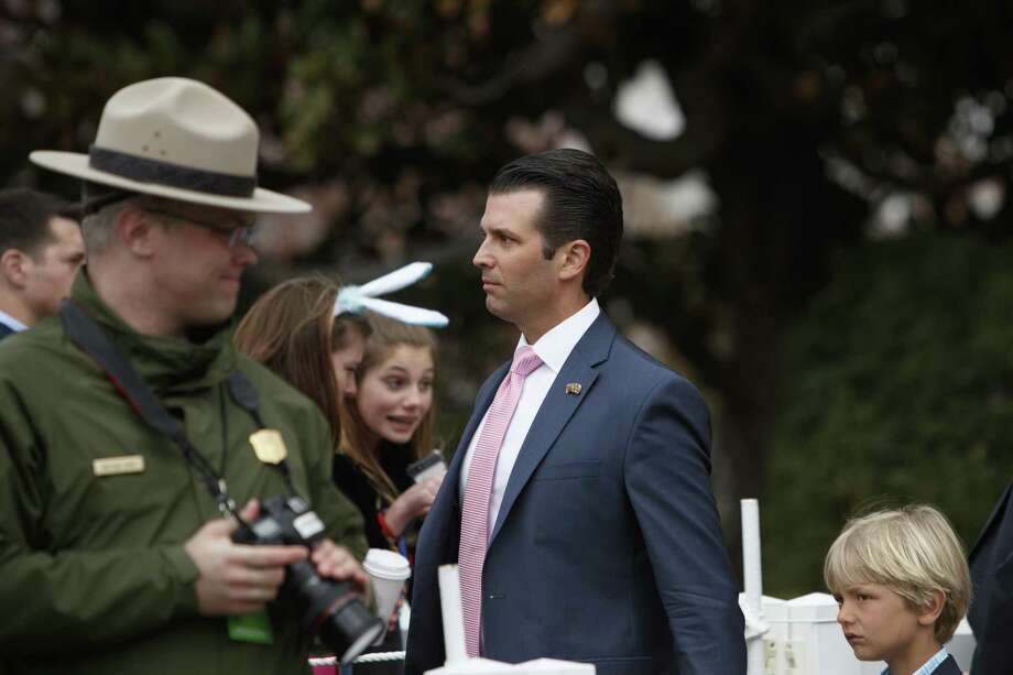 The administration claimed the president didn't dictate a statement that falsely claimed a meeting between Donald Trump Jr. (shown at the Easter Egg Roll) and Russians was about adoptions. The president's lawyers now concede he dictated it. That's a lie — in furtherance of a cover-up. Photo: TOM BRENNER /NYT / NYTNS